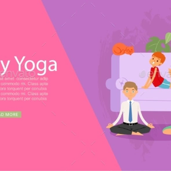 Family Yoga Banner, Health Sport Life, Healthy