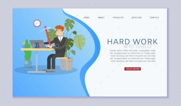 Hard Work, Inscription Web Banner, Home Business - Miscellaneous Vectors
