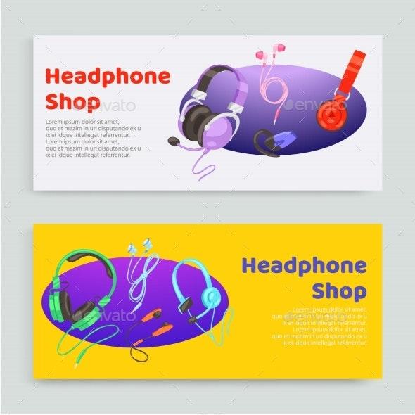 Headphone Shop Inscription, Banner Set, Online - Technology Conceptual