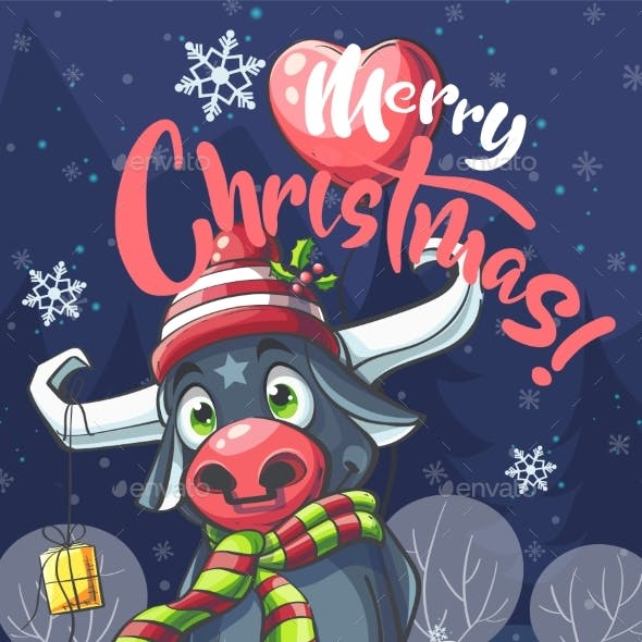 Vector Illustration Merry Christmas Bull in Night