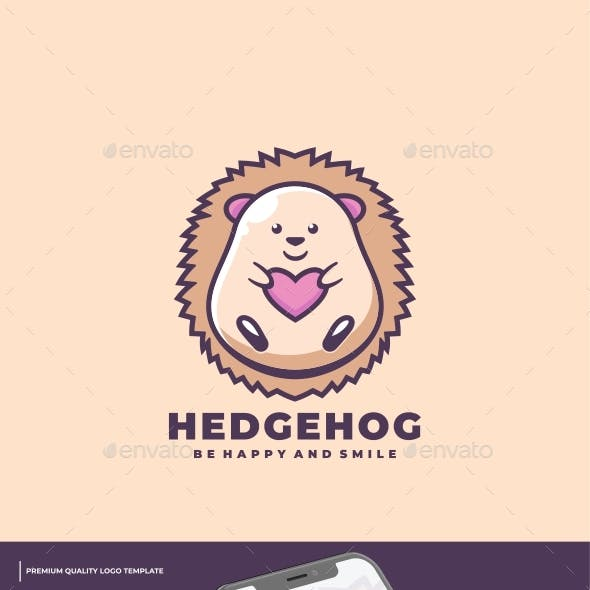 Hedgehog Mascot Cartoon Logo Template