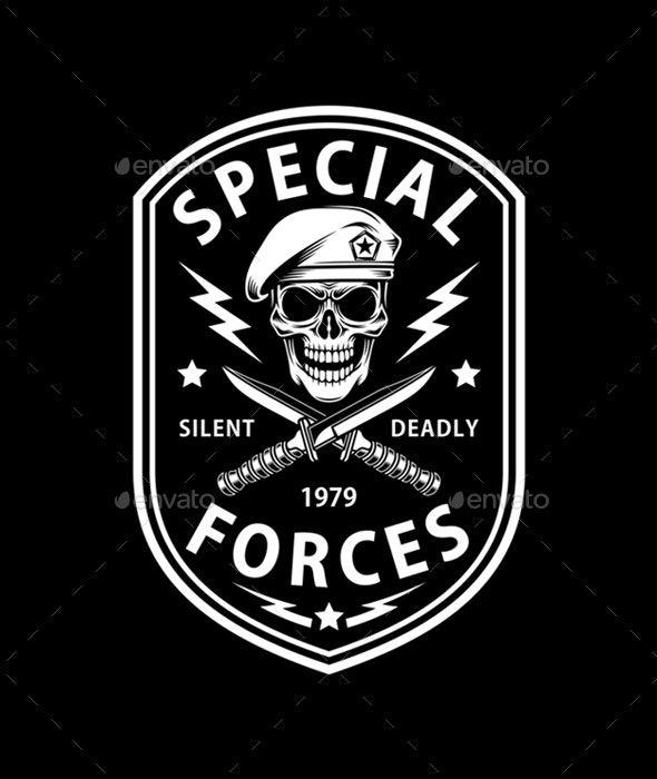 Army Special Forces Emblem With Crossed Dagger On Black - Decorative Symbols Decorative