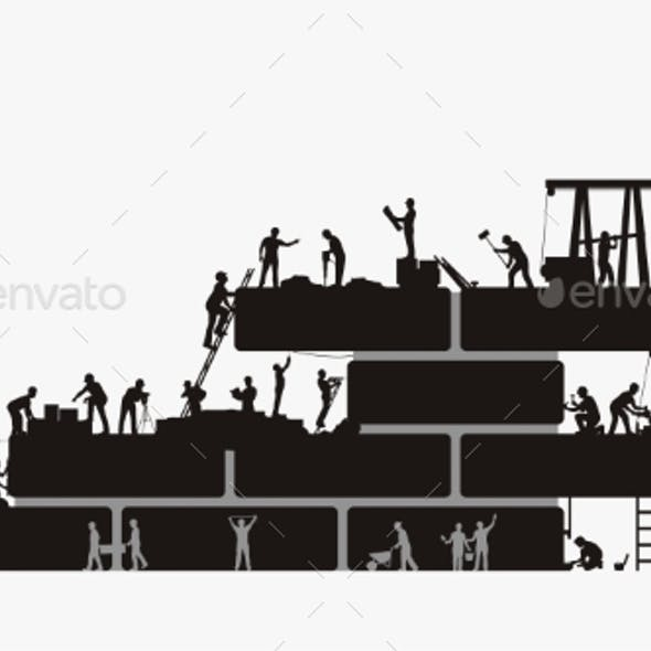 Builders Silhouette Work at Construction on White