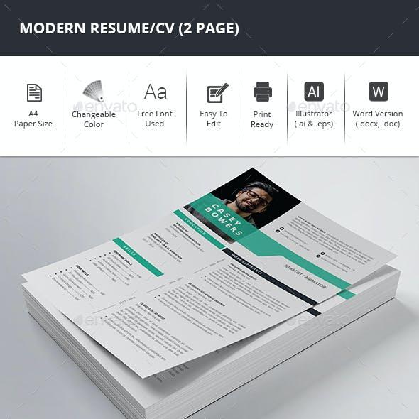 Modern Resume/CV (2 Page)