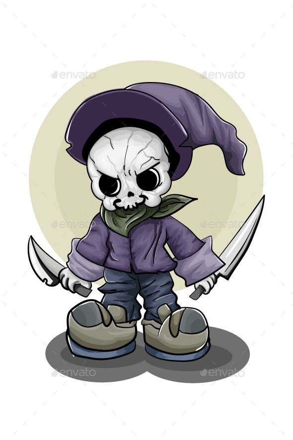 Skull Wearing Purple Hat and Holding Two Swords - Halloween Seasons/Holidays