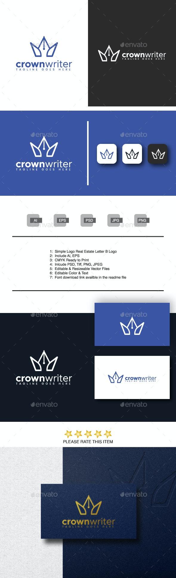 Crown Writer Logo - Objects Logo Templates