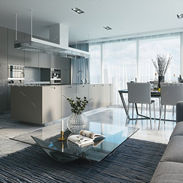 Modern Design Living Room With Kitchen