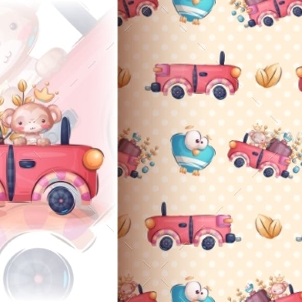 Monkey in the Car - Seamless Pattern