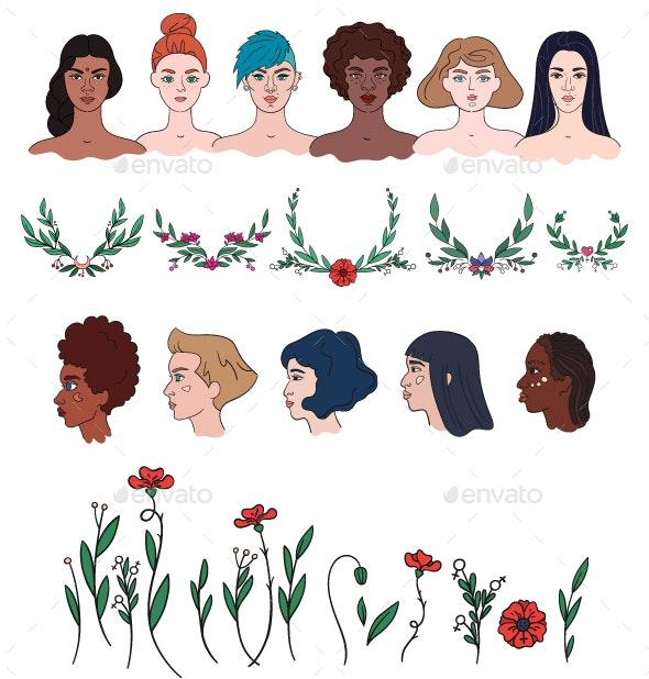 Women and Flowers - Diversity Women Portraits and Floral Elements Set - Decorative Symbols Decorative