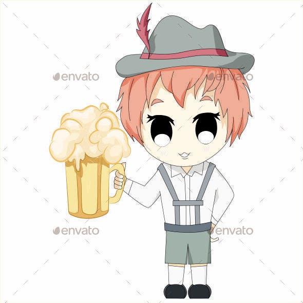 Chi-bi Anime Boy with Beer Oktoberfest