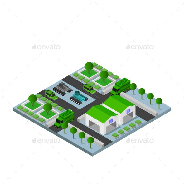 Isometric Military Barracks