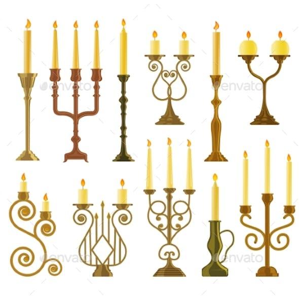Candelabrum or Candlestick with Burning Candle Set