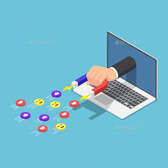 Isometric Hand Holding a Magnet Appeared from Laptop Monitor and Attracting Social Media Icons