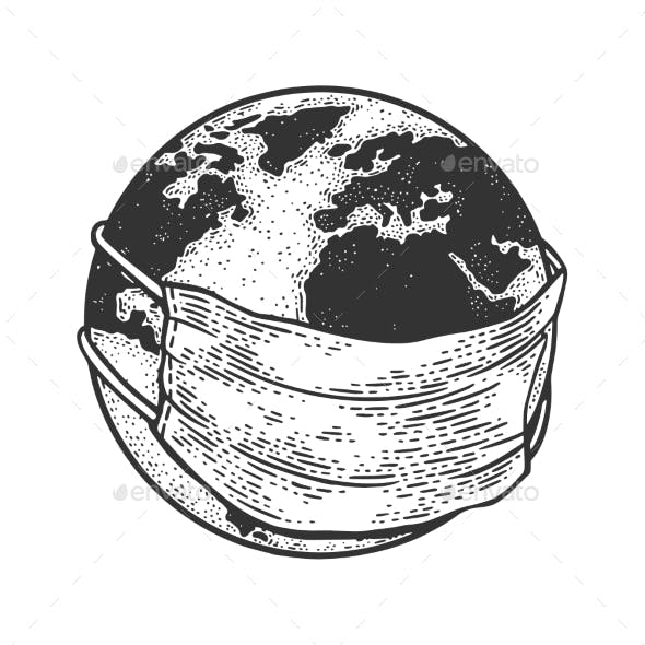 Earth Globe in Medical Mask Sketch Vector