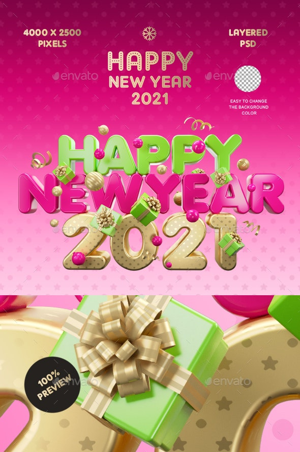 Happy New Year 9 Color by Bashkirev  GraphicRiver