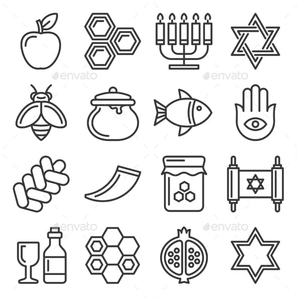 Rosh Hashanah Icons Jewish New Year Set