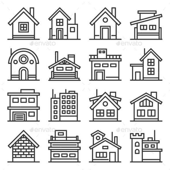 Home and House Buildings Icons Set Line Style - Buildings Objects