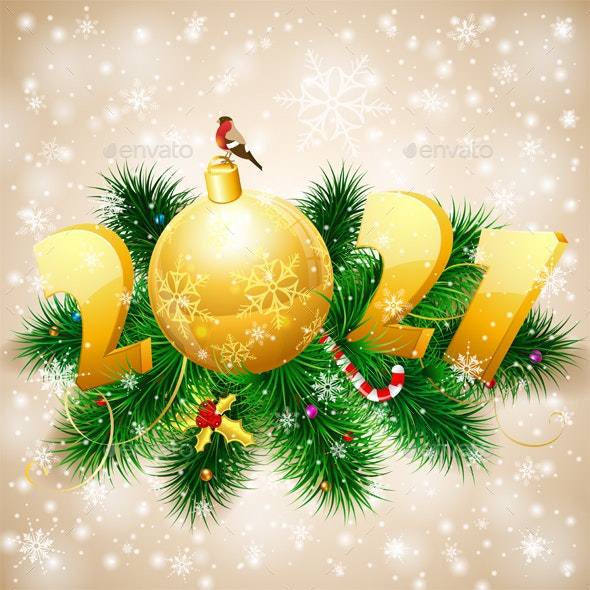Merry Christmas and New Year Background - New Year Seasons/Holidays