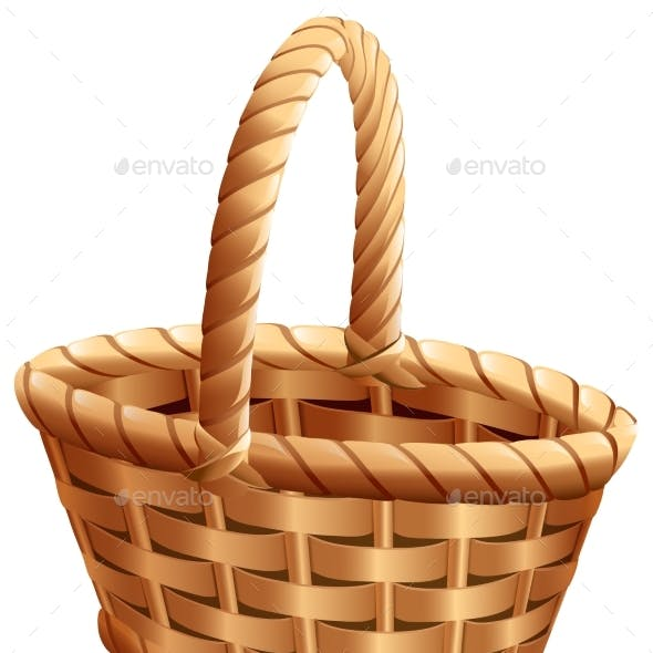 Empty Wicker Basket with Handle for Thanksgiving