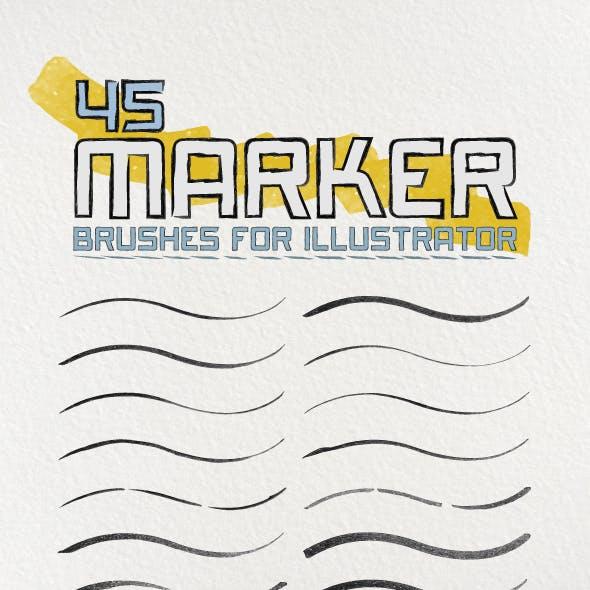 45 Marker Brushes For Illustrator
