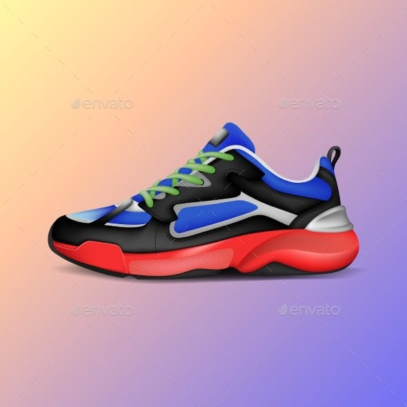 Realistic Sport Running Shoe for Training