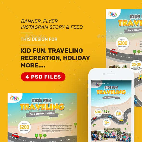 Kid Travel Holiday vacation Design Bundle