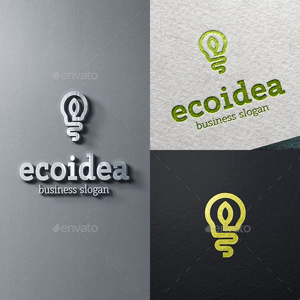 Eco Idea Light Bulb and Leaf Logo