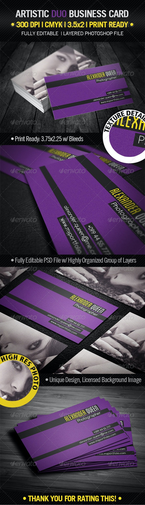 Artistic Duo Business Card - Industry Specific Business Cards