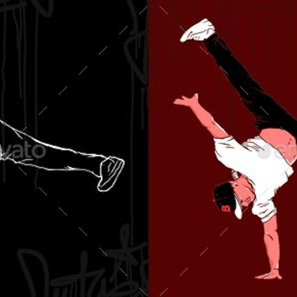 Bboys Abstract Silhouettes Vector Illustration