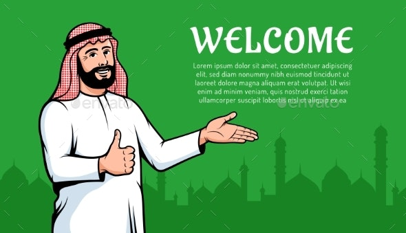 Muslim Man Arab Welcomes To His Country - People Characters