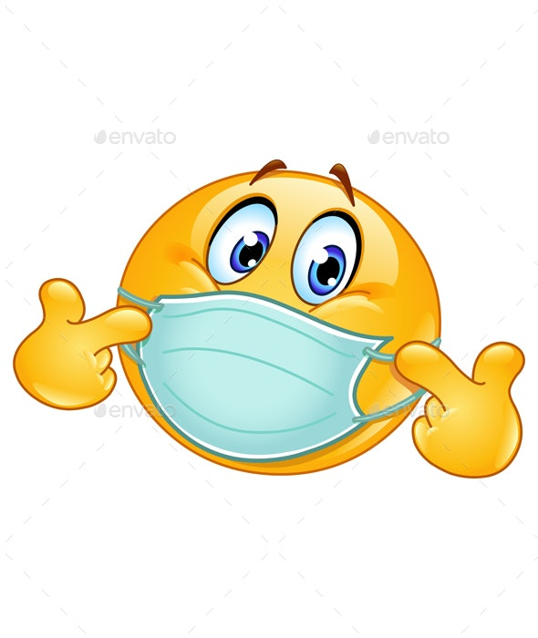 Pointing at Himself Emoticon with Medical Mask - Health/Medicine Conceptual