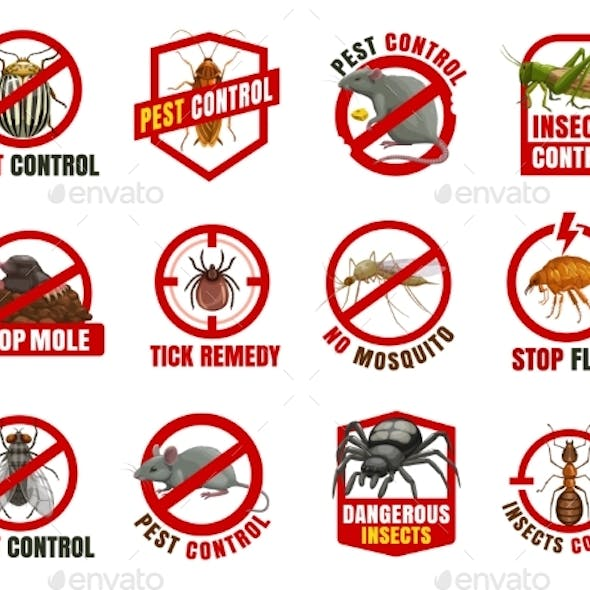 Pest Control Isolated Icons, Cartoon Vector Signs