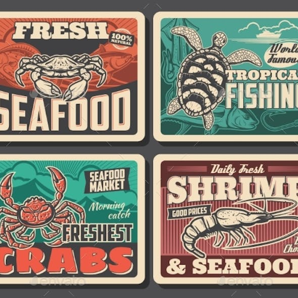 King or Shear Crab, Turtle or Shrimp Retro Posters