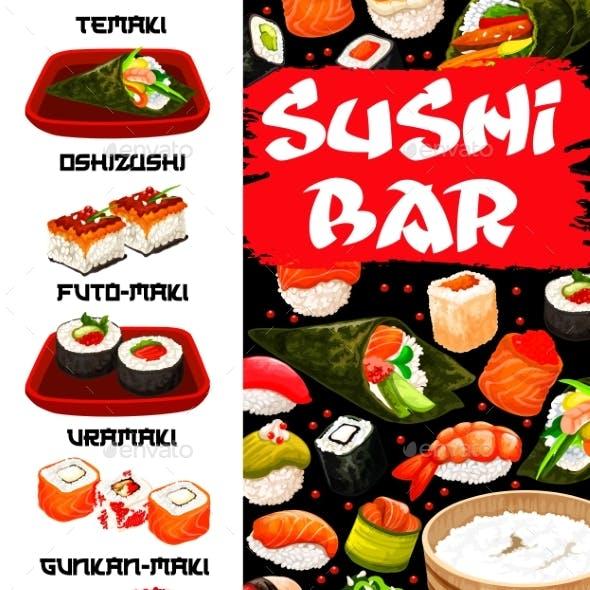 Sushi Bar, Japanese Food Menu Cover Vector