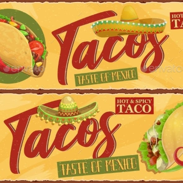 Hot and Spicy Mexican Tacos Retro Vector Banner