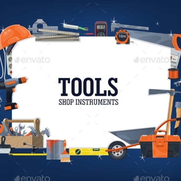 Construction, Home Repair Tools Shop Vector Banner