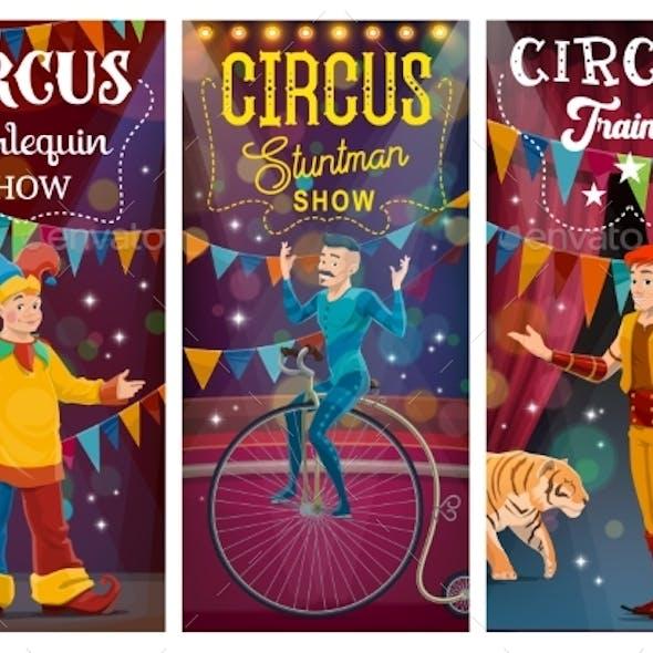 Big Top Tent Circus Artists Cartoon Characters