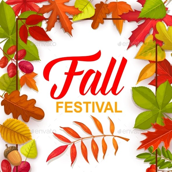 Fall Festival Vector Flyer with Bright Tree Leaves