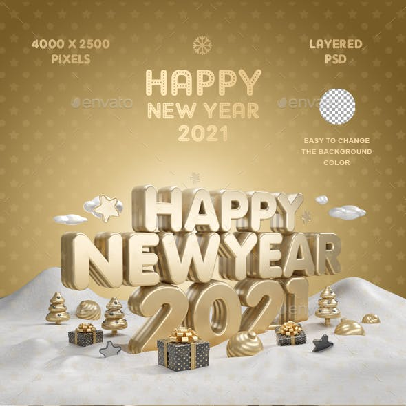 Happy New Year 2021 Gold