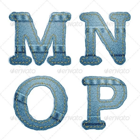 Denim alphabet. Jeans letters M N O P - Decorative Symbols Decorative