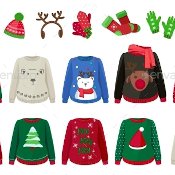 Winter Cloth. Ugly Sweaters Hat Mittens and Socks