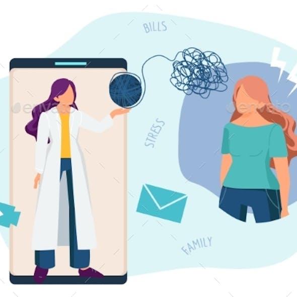 Online Therapist. Psychotherapy, Phone Psychology
