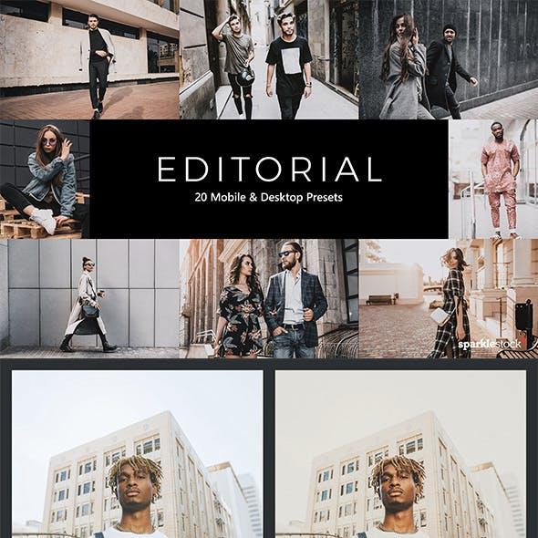 20 Editorial Lightroom Presets & LUTs