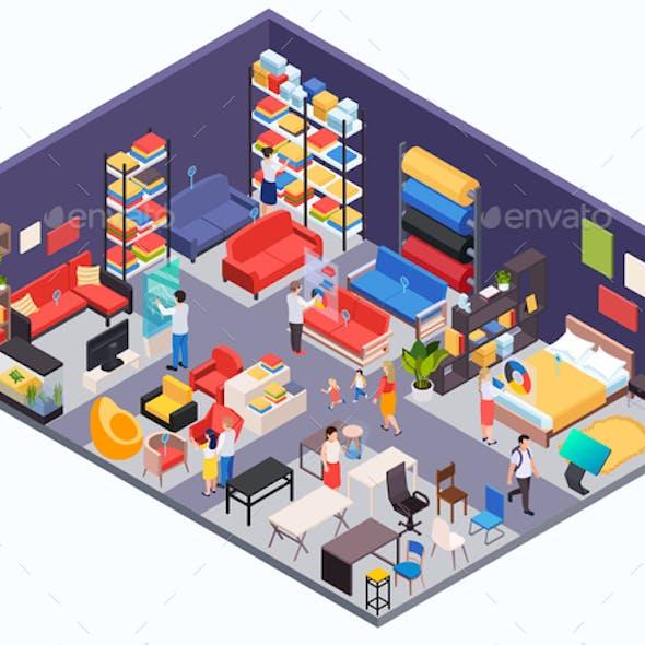 Furniture Shop Isometric Background