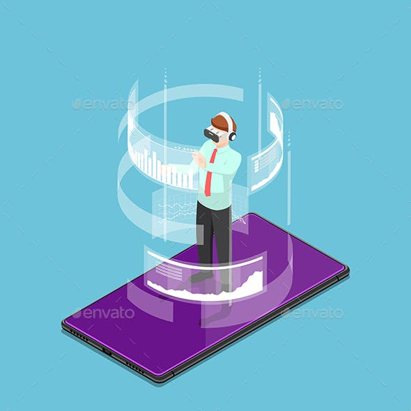 Isometric Businessman Wearing Virtual Reality Headset and Standing on Smartphone