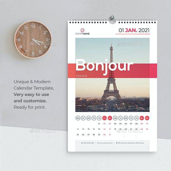 Calendar 2021 Hello