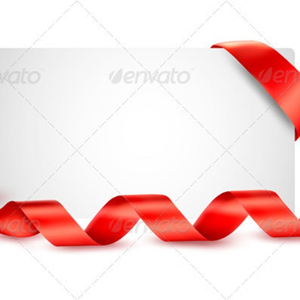 Card with Red Gift Ribbons