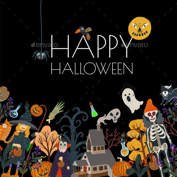 Halloween Banner or Card with Scary Elements