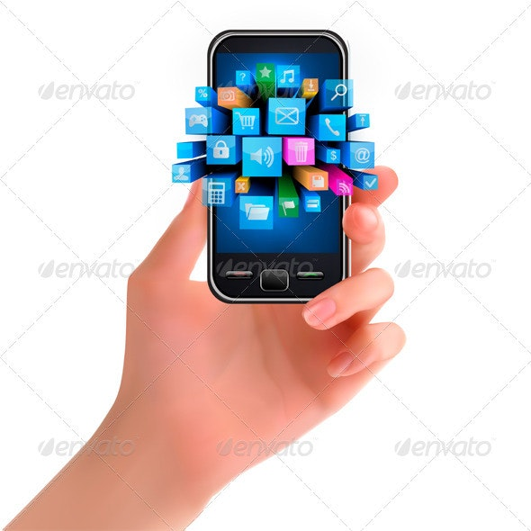 Hand holding mobile phone with icons. Vector   - Communications Technology