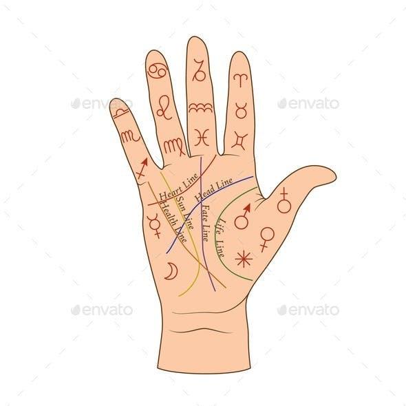 Cartoon Human Palmistry Map on Open Hand Vector